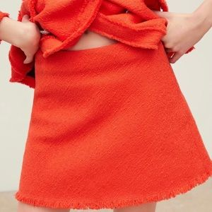 Zara Tweed Red Mini Skirt Suit Separates NWT L